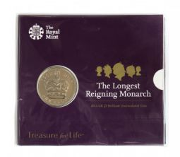 2015 £5 Longest Monarch Royal Mint Brilliant Uncirculated pack for sale